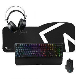 Aim Pack Pro–Pack GAMING de clavier, souris, casque et tapis (clavier mécanique, Switch Rouge, capteur optique professionnelle 10000DPI, son 7.1avec égalisation 3d, éclairage DNA RGB, Tapis XXL), noir