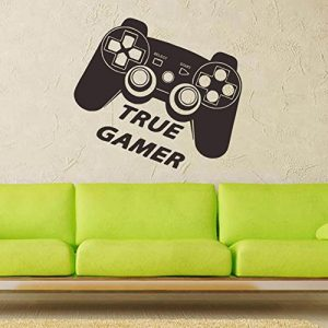 BENHAI 1 PC Gamepad Décoratif Autocollants Personnalisé Salon Stickers Muraux Étanche Vidéo Jeu Autocollant Mur Decal Art Décor Gaming (noir)