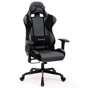 SONGMICS Chaise gamer Fauteuil de bureau racing sport avec support lombaire et coussin noir + gris RCG02G