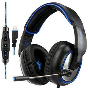 [2018Récemment mise à jour] Sades R7Casque de jeu USB Surround Sound Over-Ear Gaming casque pour ordinateur PC Mac ordinateur portable (Noir)