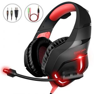 Casque de Jeux pour PC, MillSO K1 3.5mm Stéréo Ecouteurs Gaming Headset Avec LED Lumière Suppression du Bruit Micro pour PS4 Xbox One Nintendo Switch Portable Tablette Smartphone, Noir et Rouge