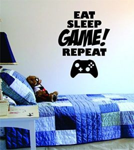 Eat Sleep GAME Repeat Quote Decal Sticker Wall Vinyl Art Design Gamer Cool Funny Game Room by Boop Decals