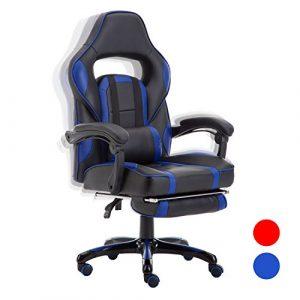 FAYEAN Ergonomique Racing Gaming Fauteuil en Cuir pivotant PU Cuir Chaise de Bureau à Domicile Bureau d'ordinateur avec Retractible Repose-Pieds, Chaise inclinable et Coussin Lombaire