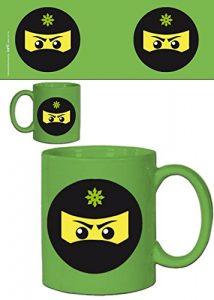 1art1® Set: Gaming, Icône Ninja, Vert Tasse À Café Mug (9×8 cm) + 1x Sticker Surprise