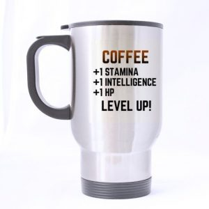 Mensuk Easyolife- Gamer Mug LEVEL UP! Gift for Nerd RPG Gamer Funny Travel Mug 14oz Coffee Mugs/ Tea Cups Stainless Steel Cool Unique Birthday or Christmas Gifts For Man and Women