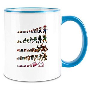 Payton Clothing Evolution du Jeu vidéo – Video Game Evolution Colored Handle Coffee Mug – 11 Oz Ceramic Cup