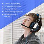 Casque de Jeu,Casque Gamer avec Micro 3.5mm Jack Premium Anti Bruit Audio Stéréo Basse avec LED Lampe Jeux Vidéo Gaming Compatible pour PC Xbox One,PS4, Laptop Tablette Gaming Headset