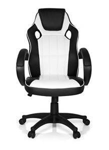 MyBuero chaise gaming, fauteuil gamer GAMING ZONE PRO 100 simili cuir noir/blanc, avec accoudoirs, dossier haut