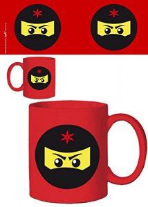 1art1® Set: Gaming, Icône Ninja, Rouge Tasse À Café Mug (9×8 cm) + 1x Sticker Surprise