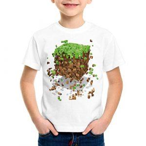 A.N.T. Exploding Cube T-Shirt pour Enfants Block dé Jeu vidéo Game, Taille:140
