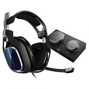 ASTRO Gaming A40 TR Casque Gamer Filaire + MixAmp Pro TR, Génération 4, 7.1 Son Dolby Surround, ASTRO Audio V2, Jack Audio 3,5 mm, Micro Interchangeable, Speaker Tags, PC/Mac/PS4 – Noir/Bleu