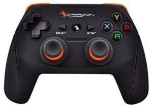 DragonWar – DragonShock Ultimate PC – Manette de de jeu sans fil Noir/Orange – Deux moteurs de vibration – 17 boutons d'action – Mode Xinput & Dinput