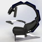 Drian Station de travail, Chaise de bureau et bureau combiné pour le Gaming (Blanc pur) bleu marine