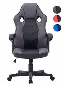 HOGAR24 ES Chaise de Gaming d'ordinateur Bureau Ergonomique pour Gamers Spécial Jeux vidéo Cuir synthétique matelassé Hauteur et Inclinaison réglables.