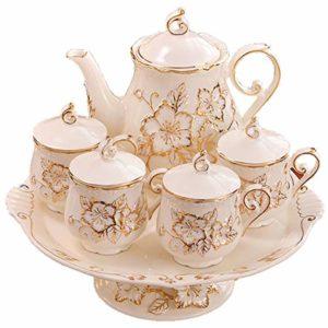 HRDZ Tasse à café rotative Set Tasse à thé d'après-midi Tasse à thé Rouge Service à thé Tasse à thé en céramique et Tasse à thé avec Soucoupe 4 Tasses, 1 Pot, 1 Plateau 200ml