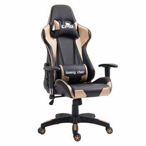 IDIMEX Chaise de Bureau Gaming Racer Chair Style Racing Gamer, Fauteuil Ergonomique pivotant, siège à roulettes avec Dossier inclinable et Coussins, revêtement synthétique Noir et Or