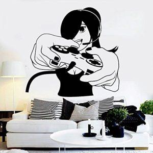 Jeu Poignée Autocollant Fille Gamer Decal Gaming Posters Joueur Vinyle Stickers Muraux Décor Mural Autocollant De Jeu Vidéo 58X60cm