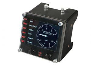 Logitech G Saitek Pro Flight Instrument Panel Tableau de Bord pour Simulateur de Vol, Ecran Couleur LCD 3,5 Pouces, 15 Options d'Affichage, Connexion USB, Modulaire – Noir