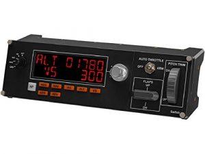 Logitech G Saitek Pro Flight Multi Panel, Contrôleur de Pilote Automatique pour Simulateur de Vol, Ecran LCD, Affichages en Temps Réel, Commandes Dédiées, USB, PC – Noir