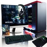 'VIBOX Legend 8 – Ordinateur de gaming (27, Intel i7 – 5960 x, 32 Go de RAM, 3 TB de disque dur, Nvidia GeForce GTX 980 Ti SLI, Windows 10) couleur Noir et rouge – Clavier QWERTY Anglais