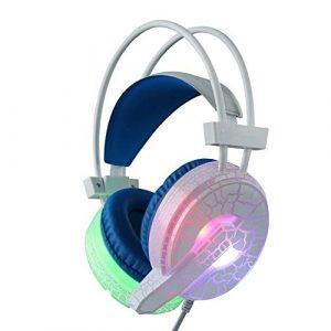 OIUYT Casque de Jeu d'ordinateur Deep Bass Jeu Casque avec Microphone LED for Ordinateur PC Gamer (Color : White)