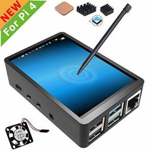 pour Raspberry Pi 4 Écran Tactile avec étui, Écran Tactile 3,5 Pouces avec Ventilateur, Écran de Jeu TFT LCD avec Moniteur 320×480