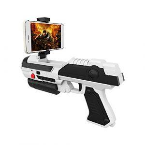 PQZATX Jeu de VR AR PISTOLET Jeu de tir Jouet de controle de smartphone pour IOS Android Pistolets a air Noir & Gris