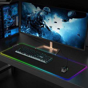 Queta Tapis de souris USB pour jeux vidéo et ordinateurs Base en caoutchouc antidérapant Résistant à l'eau Grb LED avec 10 modes d'éclairage 300 x 800 x 4 mm