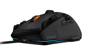 Roccat Tyon Souris Gamer Multi Boutons et Action, Capteurs Laser 8200 DPI, 14 Touches Programmables, Ergonomique et Silencieuse, Optique, avec Fil, pour Jeux MMO ou FPS, Connexion USB pour PC, Noir