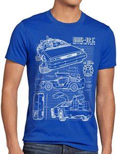 style3 DMC-12 Bleu T-Shirt Homme Futur, Taille:L;Couleur:Bleu