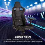 T1 Race – Fauteuil Gaming de Bureau en Similicuir, Montage Facile, Ergonomique, Hauteur Réglable et Accoudoirs 4d, Confortable avec Dossier Inclinable – Noir