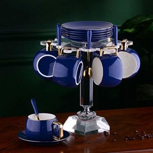 Tasse à café et Soucoupe Haut de Gamme Petit Porte-Tasse de en céramique avec Tasse à la Maison Accueil Service à thé après-midi Set d'eau H 300ml