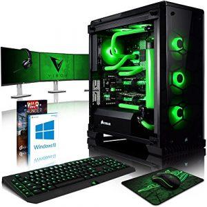 VIBOX Venom GL780T-46 PC Gamer Ordinateur avec Jeu Bundle, Win 10, 3x Triple 24″ HD Écran (4,7GHz Intel i7 6-Core, 2x Dual SLI GeForce GTX 1080 Ti, 32GB DDR4 RAM, 480GB SSD, 4TB HDD)