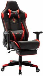 Ficmax Grande Taille Chaise de Bureau Fauteuil Pivotant Gaming, Massage Cousin Lombaire et Réglable Repose-Pied inclure, Rouge/Noir