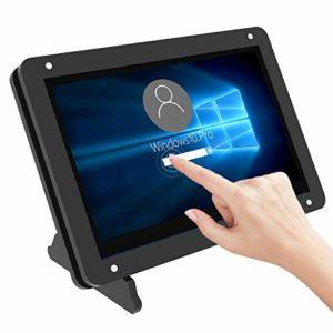 Jun-Saxifragelec pour écran Raspberry Pi 4, écran capacitif à écran Tactile de 5 Pouces, Moniteur Portable 800×480 Pixels avec boîtier en Acrylique