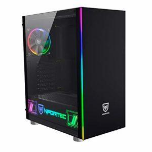Nfortec Tour Gaming RGB Caronte Pro avec Panneau latéral Full View en Verre trempé et Ventilateur arrière de 120 mm Inclus