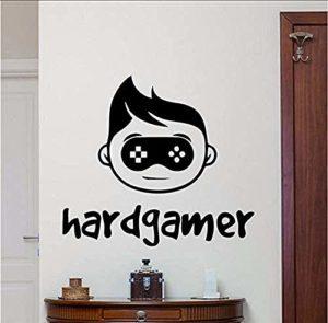 Autocollant Hard Gamer Wall Decal Gaming Joystick Gamepad Home Decor Jeu Vidéo Wall Sticker Jeu Vidéo Wall Art Teen Boy Room 58 X 63 Cm