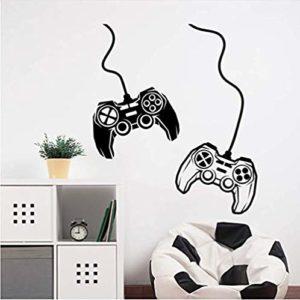 Gamer Deux joysticks Decal Jeu Vidéo stickers muraux décoration de la maison art stickers muraux salon chambre décoration murale murale 57 * 66 cm