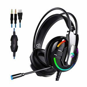 HGCF Esports Wired Gaming Casque, 4D Stereo Breath RVB Lumière Microphone réglable, Casque, Isoler Bruit Coquille AUDITIVE tête-monté, pour PC, Jeux Portables