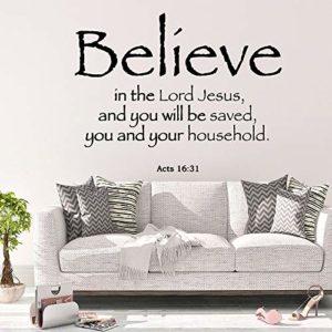 JZYIH Believe in the Wall Sticker mural amovible en PVC pour décoration de chambre à coucher, Or