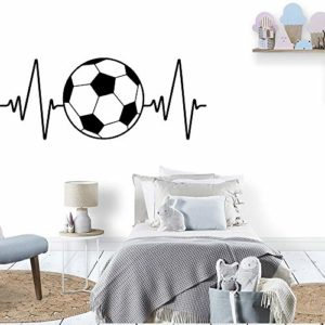 JZYIH Sticker mural moderne pour chambre d'enfant Motif football football, blanc, XL 73cm X 28cm