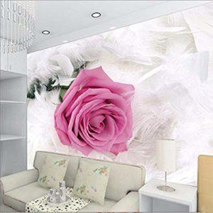 Yirenfeng Autocollant Mural Autocollant 3D En Trois Dimensions Rose Plume Peinture Décorative Fond Mur Mur Vidéo Revêtement-450X300CM