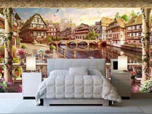 Yirenfeng Autocollant Mural Autocollant Bokeh 3 Rétro-Européen Paysage Fond Mur Vidéo Revêtement Mural-450X300CM