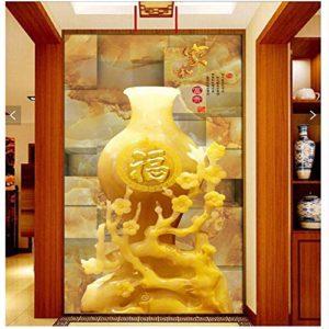 Yirenfeng Autocollant Mural Autocollant Maison Et Jade Tridimensionnel 3D Riche Découpant Un Mur Vidéo De Porche De Style Chinois-450X300CM