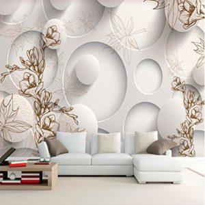 Yirenfeng Autocollant Mural Autocollant Papier Peint Rétro Dessin Au Trait Magnolia Feuille Feuille D'Érable Salon Tv 3D Canapé Fond Mur Revêtement Mural Vidéo-450X300CM