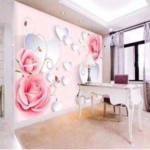 Yirenfeng Autocollant Mural Autocollant Rose Motif 3D Stéréo En Forme De Coeur Tv Fond Mur Mur Vidéo Revêtement-450X300CM