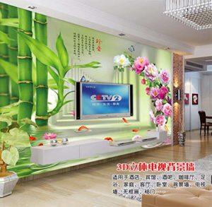 Yirenfeng Muraux Stickers 3D Expansion De L'Espace Chérir Pivoine Bambou Carpe Image Tv Fond Mur Mur Vidéo Revêtement-450X300CM