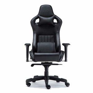 Chaise de bureau pour jeu avec dossier haut réglable Noir foncé