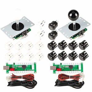 EG Starts Arcade DIY Kits contrôleur USB Encoder Pour PC Jeux 8 voies Stick + 4 x 24 mm + 16 x 30 mm Boutons pour arcade Cabinet Mame Raspberry Pi 1 2 3 Joystick KOF parts Blanc/Noir