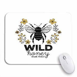 PONIKUCY Tapis de Souris de Jeu personnalisé,Étiquette de Miel en nid d'abeille pour Les Produits biologiques Badge Animal Abstrait,pour la Maison et Le Bureau